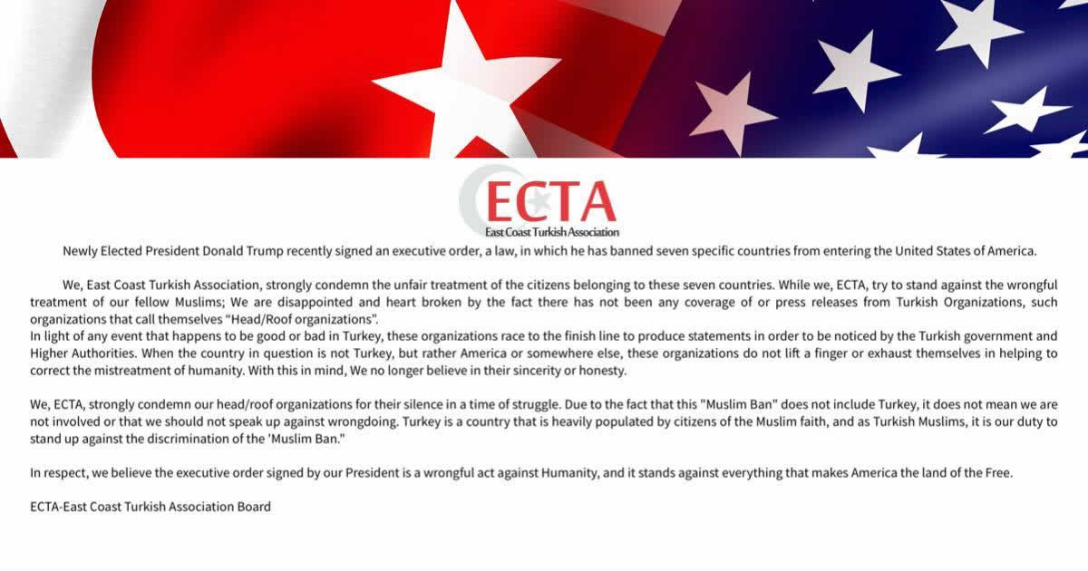 ECTA Condemn Muslim Ban and Roof Organizations